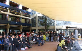 Hundreds of people turned out at the Auckland University quad for a rally on 6 August about the controversial law.