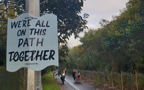 A sign on the northwestern cycleway in Auckland