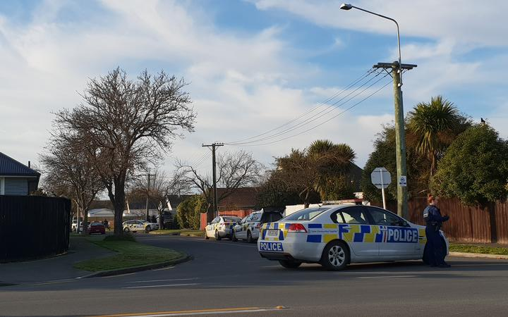 Police on Hoani Street in Papanui, Christchurch.