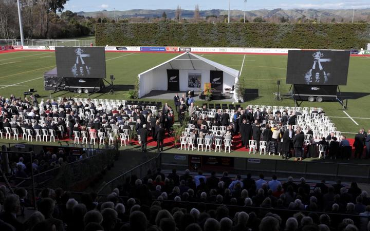 Sir Brian Lochore's public service is taking place at Memorial Park in Masterton.