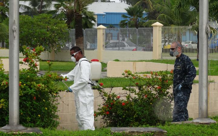 A 2011 outbreak of dengue fever in the Marshall Islands led US Navy and Marshall Islands government teams to collaborate on mosquito eradication around Majuro by spraying community areas, government buildings and homes.