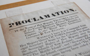 Private collector Spencer Scoular recently outbid a number of the country's libraries for a prized copy of a corrected printing of a Treaty of Waitangi proclamation of sovereignty and handwritten letter, for 31-thousand dollars.