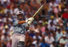 Martin Crowe bats.1992 Cricket World Cup, New Zealand v Australia, Eden Park, Auckland, New Zealand, February 22 1992.