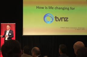 TVNZ chief executive Kevin Kenrick telling the TUANZ conference how convergences has changed the game.