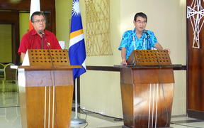Marshall Islands Foreiign Minister John Silk and Japan's Foreign Minister Taro Kano
