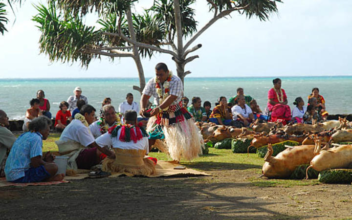Wallis and Futuna islanders perform a kava ceremony during celebrations at Vaitupu.