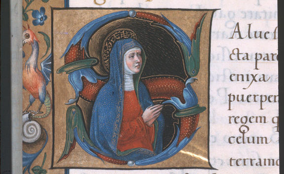 Detail of an historiated initial 'S'(ancta) of the Virgin Mary. Image taken from f. 101 of Book of Hours, Use of Rome (the 'Hours of Bonaparte Ghislieri', formerly known as 'The Albani Hours').