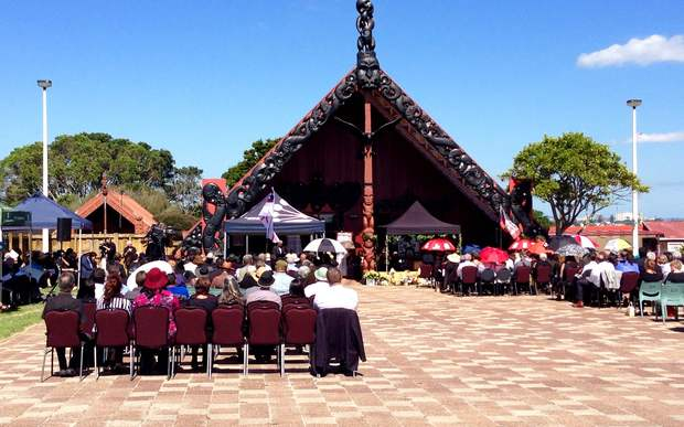 Mourners listen during a funeral service for Dr Ranginui Walker at Auckland's Orakei Marae.