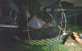 Damage in St Heliers caused by strong winds during tonight's storm.