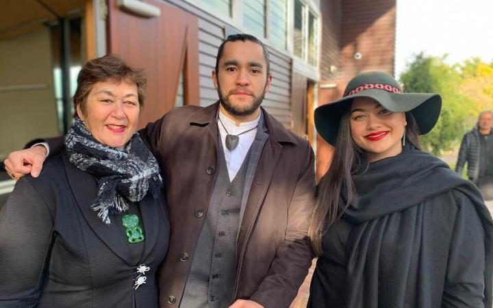 Mere Kerett, Eru Ruanui Tia Kapa-Kingi and Leah Te Whata at a Te Panekiretanga hui in July.