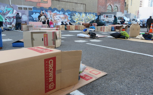 Wellington's cardboard city was home to a mayor, Salvation Army representatives, and members of the public, including some who were homeless.