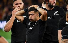 PERTH, AUSTRALIA - AUGUST 10: Richie Mo'unga of the All Blacks looks dejected after the teams defeat during the 2019 Bledisloe Cup test match between the New Zealand All Blacks and the Qantas Wallabies at Optus Stadium, August 10 2019 in Perth,
