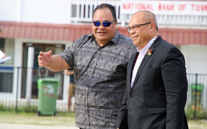 New Zealand's minister for Pacific Peoples, Aupito William Sio (right), arrives in Tuvalu for the Pacific Islands Forum leaders summit. August 2019