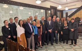 Group of Moriori members and crown representatives at today's settlement.