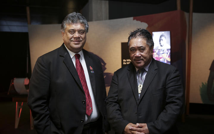 Rahui Papa Chairman of Waikato Tainui and Raniera Tau chairman of Ngāpuhi. He Tohu, a new permanent exhibition of three iconic constitutional documents that shape Aotearoa New Zealand. Treaty of Waitangi, Declaration of Independence and Women's Suffrage Petition.