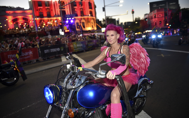 A group known as Dykes on Bikes takes part in the annual Sydney Gay and Lesbian Mardi Gras Parade in Sydney on March 5, 2016.
