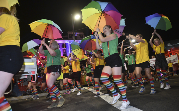 Participants take part in the Sydney gay and lesbian Mardi Gras Parade in Sydney on March 5, 2016.