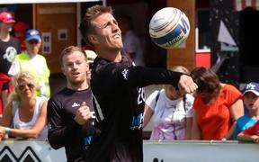 The New Zealand men's fistball team in action at the World Championships in Switzerland