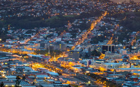 Beautiful cityscape after sunset. Nightlight. Dunedin, New Zealand.