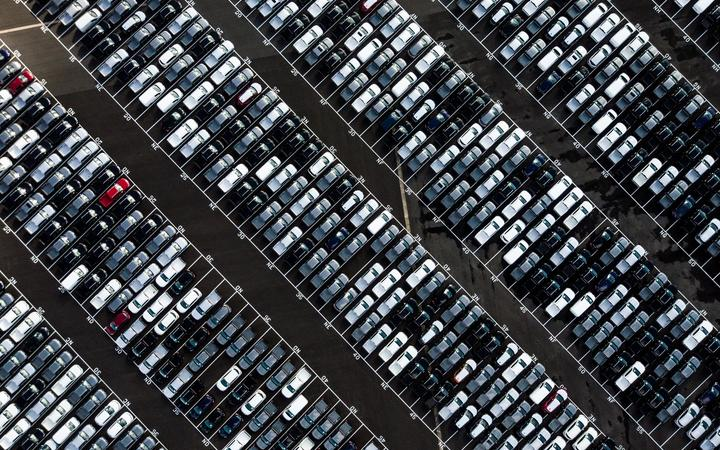 cars parked aerial view