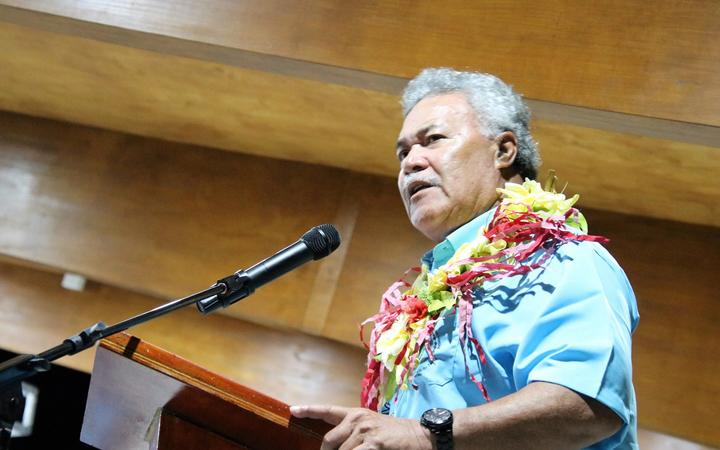 Tuvalu's prime minister Enele Sopoaga speaking at the opening of the Pacific Islands Forum meeting in Funafuti. August 2019