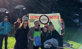 Greenpeace Oceans Campaigner Jessica Desmond, Conservation Minister Eugenie Sage, actor Robyn Malcolm (right), and her niece Sylvie.