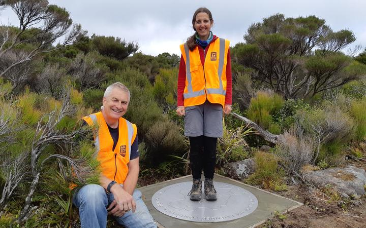 GNS marine geologist Cornel de Ronde and science researcher Jenny Black at the new centre of New Zealand near Greytown.