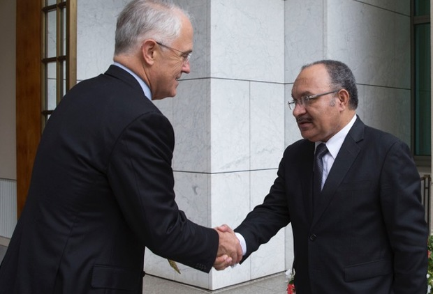 Australia's prime minister Malcolm Turnbull meets his Papua New Guinea counterpart Peter O'Neill in Canberra.
