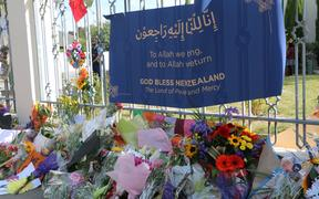 Flowers at the gate of the Al Noor mosque in Christchurch today.
