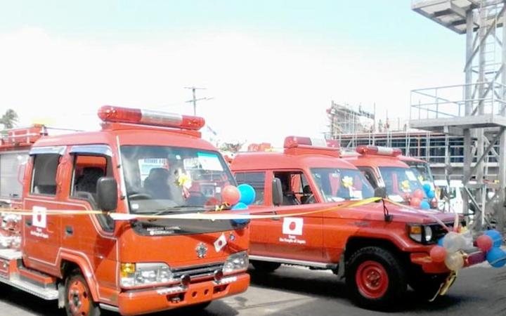 Five fire trucks were donated to Samoa by Japan