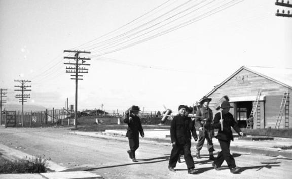 Fatigue squad on the way to work, at the Japanese prisoner of war camp near Featherston in 1943