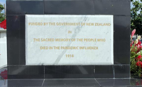 Monument erected by the NZ Government commemorating those who died in the Spanish influenza epidemic in Samoa