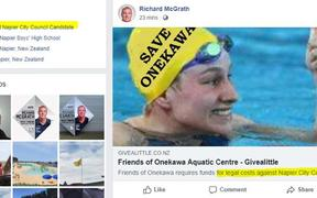 In one email, Wayne Jack asked for legal advice on whether Mr McGrath had breached the code or any other policies after he posted a link to a Givealittle fundraiser for The Friends of Onekawa Aquatic Centre, which is taking legal action against the council over the proposed pool.