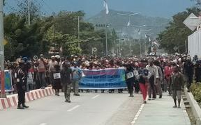 West Papuans protest against racism in Wamena, August 2019.