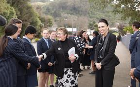 Prime Minister Jacinda Ardern at Kaitao Intermediate School in Rotorua.