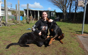 Jessie-Lee Webby with her dogs Maia, (left) and Zepp.