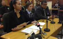 Waimarama Anderson, Leah Bell and iwi supporter Rahui Papa.