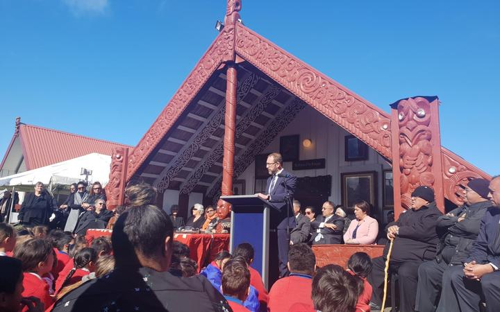 Andrew Little addresses iwi at Whanganui.