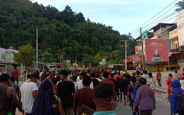 Protestors in Papua's capital Jayapura take to the streets to demonstrate, 30 August 2019