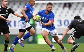 Manu Samoa captain Jack Lam takes the ball up v NZ Heartland XV