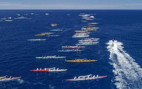 The Queen Lili'uokalani canoe races in Kona, Hawaii attract around 2,500 paddlers from around the world for five days of racing.