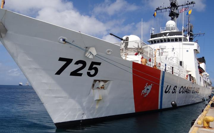 A US Coast Guard cutter on a visit to Majuro.