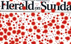 Last weekend's Herald on Sunday marks 973 known measles cases with an angry red dot each.