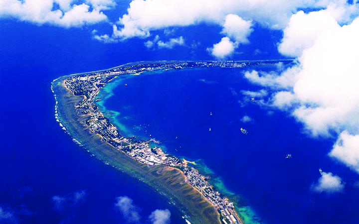 An aerial view of the downtown section of Majuro Atoll, where the first death attributed to the ongoing outbreak of dengue fever has happened.