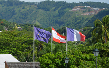 220414. Photo RNZ. French Polynesia. Flags at territorial assembly in French Polynesia