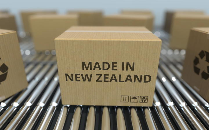 Stock image of boxes with Made in New Zealand stamped on the side.
