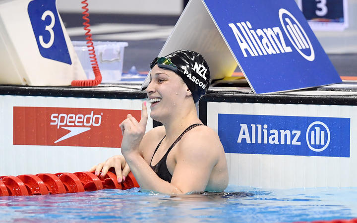 New Zealand's Sophie Pascoe wins the Womens 100m Freestyle S9 Disability at the World Para Swimming Championships, London, 9 September 2019.