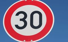 Stock photo of 30 km/h sign.