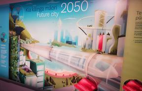 The 'future city' depicted in this Te Papa graphic includes carbon capture technology and a new-generation of flexible solar panels.