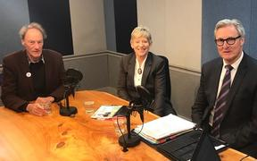 John Minto (left), Lianne Dalziel and Darryll Park (right) in the RNZ studio.
